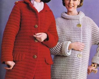 PDF of Minervas Horizontal Stripe Trench Coat  Vintage Crochet Pattern, c. 1950s