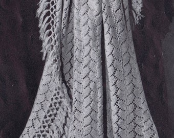 PDF Knitted Baby Blanket Trailing Lace Vintage Knitting Pattern, c. 1942