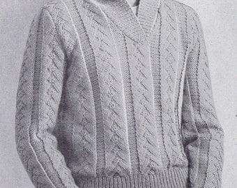 Vintage Knitting Pattern PDF Men's Sportsweater Pullover, c. 1959