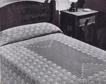 Bedspread or Tablecloth Pineapple Doily Vintage Crochet Pattern PDF, c. 1946