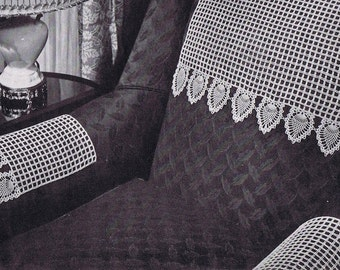 Chair Set Pineapple Doily Vintage Crochet Pattern PDF, c. 1946
