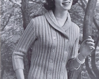 Ribbed Double Breasted Cardigan Vintage Knitting Pattern PDF,  1950s
