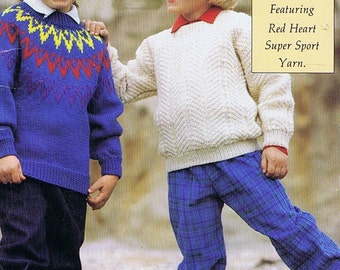 Kid's Vintage Knitting Book by Red Heart, 1980s Children's Sweaters