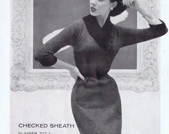 Checked Sheath Dress Vintage Knitting Pattern PDF,  1950s