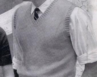 Mens Vest Vintage Knitting Pattern for Beginners