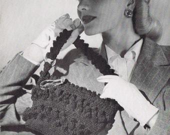 Crochet Purse Vintage Crochet Pattern PDF, c 1944