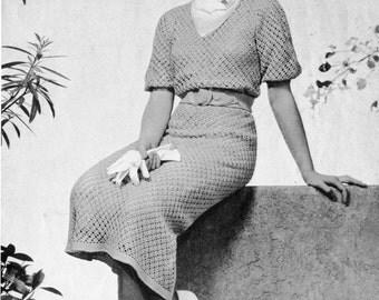 "1930s Crocheted Dress Pattern ""Country Club""  Vintage Crochet Pattern PDF, c. 1935"