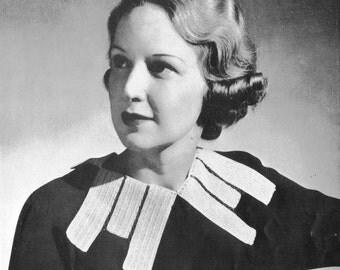 "1930s ""Moderne Collar"" Vintage Crochet Pattern PDF"
