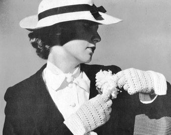 1930s Crocheted Sport Gloves Vintage Crochet Pattern PDF
