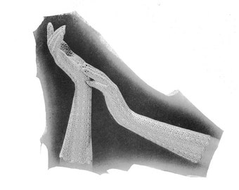1930s Crocheted Long Lace Gloves Vintage Crochet Pattern PDF