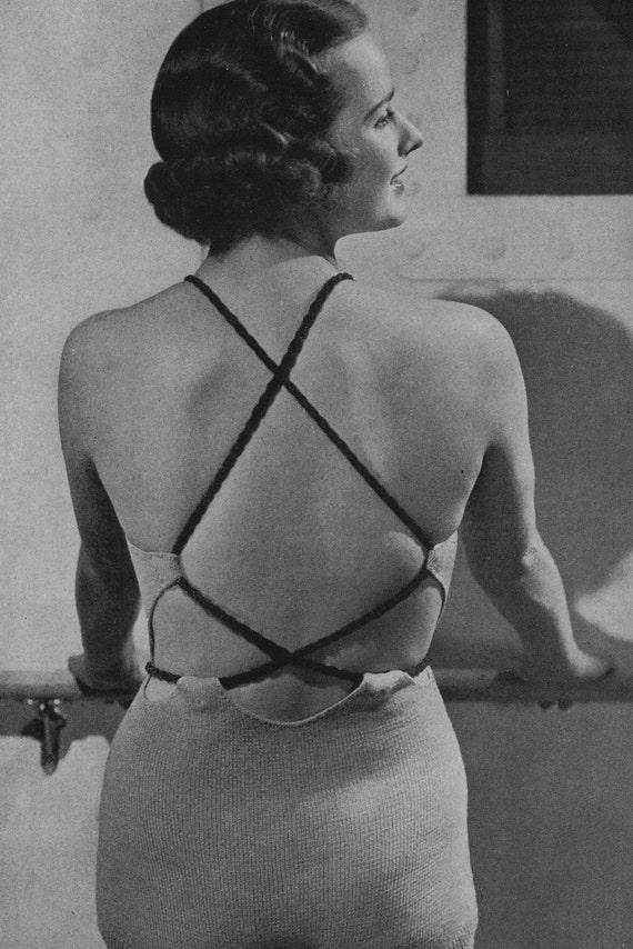 PDF of Minervas Stresa One Piece Bathing Suit Knitting Pattern, c. 1935