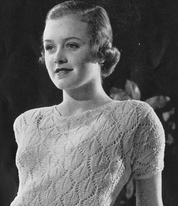 PDF of Minervas The Ideal Two Piece Lace Dress Vintage Knitting Pattern, c. 1934