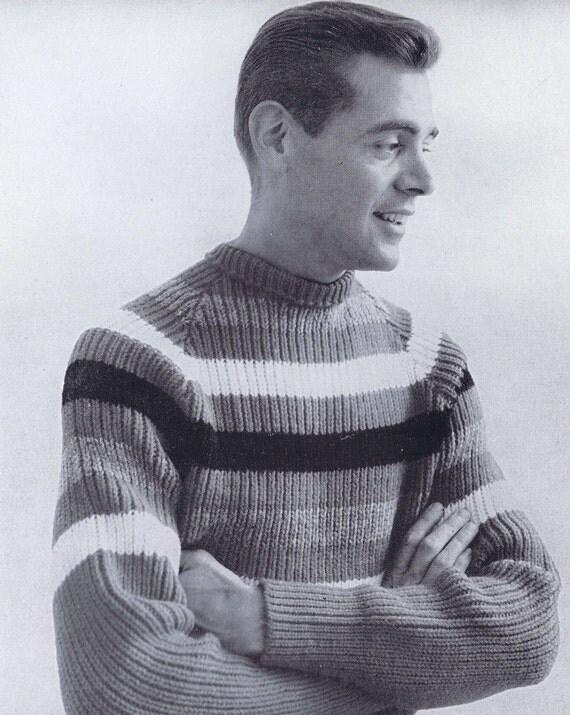 Knitting Pattern Mens Raglan Cardigan : PDF of Mens Raglan Striped Sweater Knitting Pattern 1950s