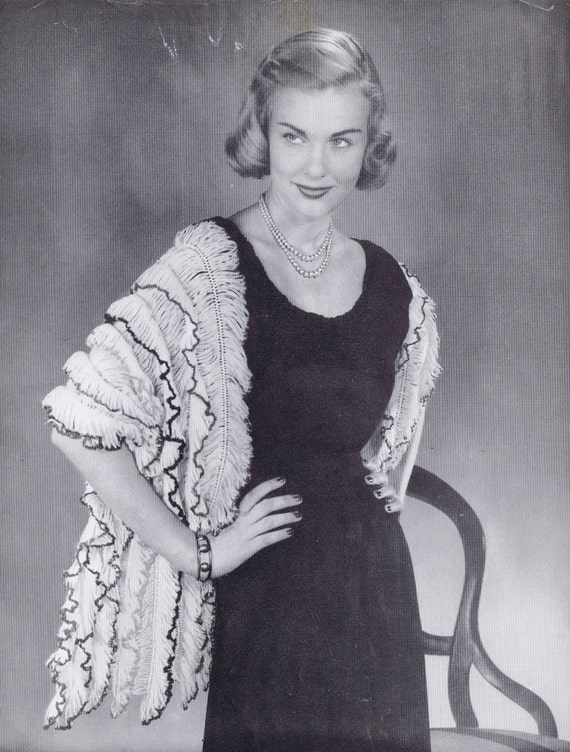 Hairpin Lace Stole Vintage Crochet Pattern by Bernat, c. 1951