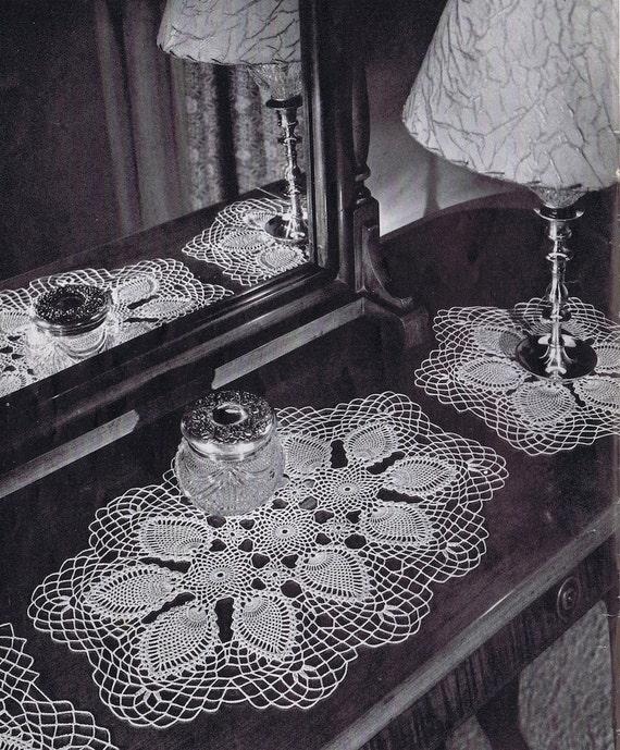 Tablerunner and Vanity Set  Pineapple Doily Vintage Crochet Pattern PDF, c. 1946