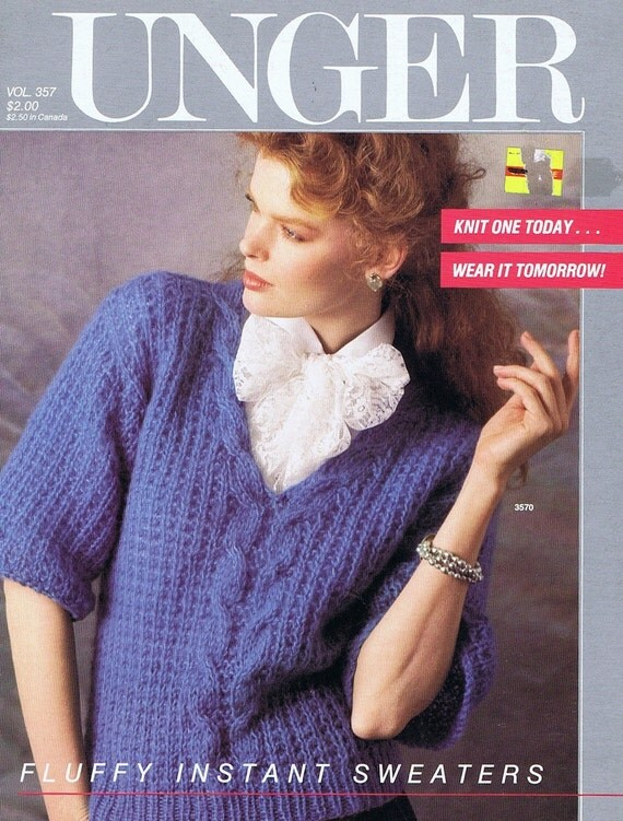 Fast Knit Sweater Booklet by Unger,. c. 1985