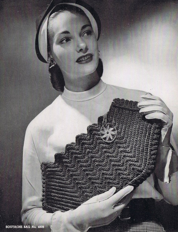 Crochet Clutch Vintage Crochet Pattern PDF by VintagePatternPlace