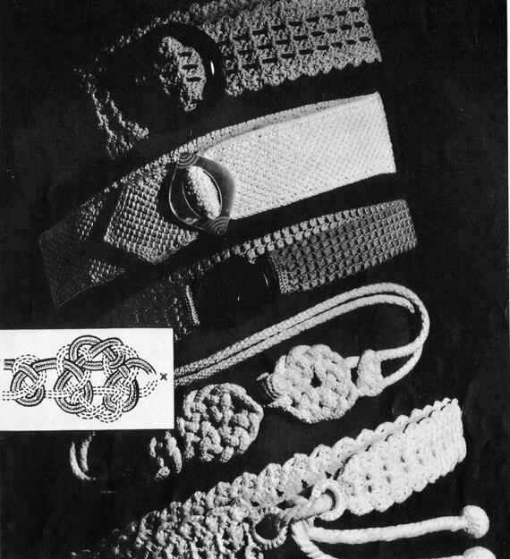 1930s Fashion Belts Vintage Crochet Pattern PDF
