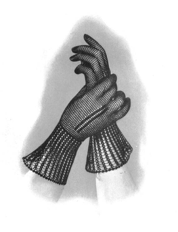 1930s Crocheted Monte Carlo Lace Gloves Vintage Crochet Pattern PDF