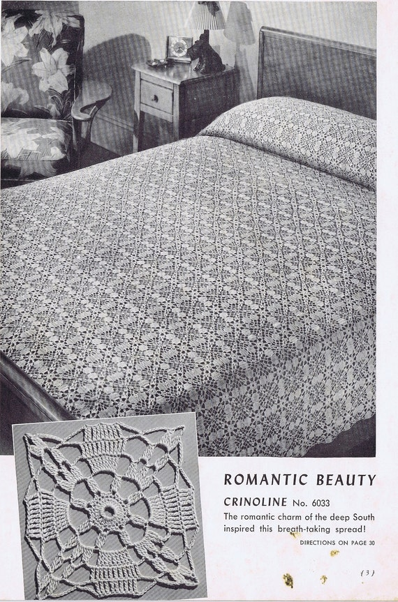 Romantic Beauty Vintage Crochet Bedspread Pattern PDF, c. 1941