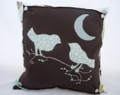 Birds Under The  Moon Pillow Brown and Aqua