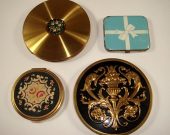 Vintage Compact Collection, Victorian Dolphins, Emerald Rhinestone, Petit Point and Enamel Present