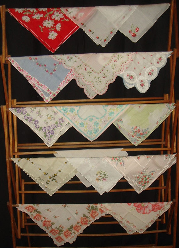 Instant Vintage Handkerchief Collection / 10 Hankies Plus Bonus 5, Mixed Lot of Floral and Embroidered / One Signed Paris