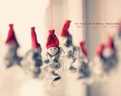 "CARD ""Christmas Cheer"" Original 6"" x 4"" Photograph on Heavy Card Stock. Christmas, White, Red, Grey, Vintage, Hats, Santa"