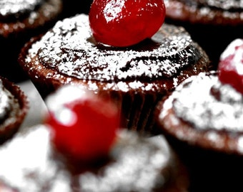 Sill Life Food Photo 8 x 12 Print. Chocolate Cupcakes, Cherry, Cake, Red, White, Brown, Cake Photo, Kitchen Art
