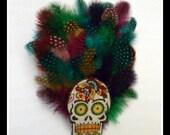 Sugar Skull Multi-Color Feather Hair Piece