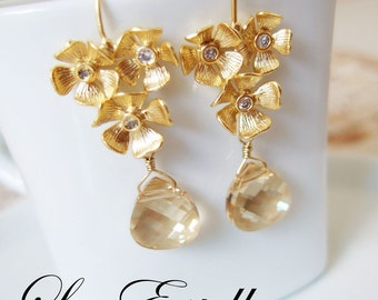 Gold Floral Champagne Swarovski Crystals Bridal Earrings - Golden Shimmer