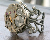 Steampunk Ring Adjustable Watch Part Movement  Ruby Jeweled Unisex Steam Punk Watch Movement - LeslieShields