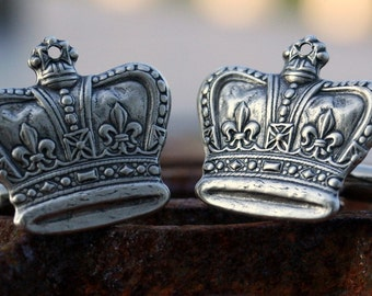 Steampunk Cufflinks Vintage Style Regal Silver Plate Ox Crown Cufflinks Cuff Links