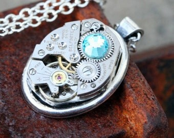 Steampunk  Watch Part Necklace,Vintage,7 Jeweled,with Aquamarine Crytal, Oval, Silver, Watch  Movement, Steampunk