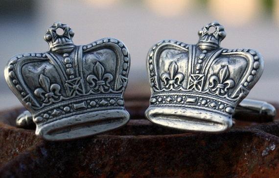 Steampunk Cufflinks Vintage Style Regal Silver Plate Ox Crown Cufflinks Cuff Links