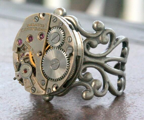 Steampunk Ring Adjustable Watch Part Movement  Ruby Jeweled Unisex Steam Punk Watch Movement