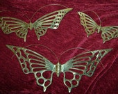 Vintage Set of 3 Brass Butterfly Wall Hangings