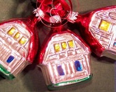 Retro Vintage Lot of 3 Glass Barn Christmas Tree Ornaments