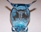 Vintage Hand Blown Great Horned OWL Paperweight Shelf Sitter Glass Figurine