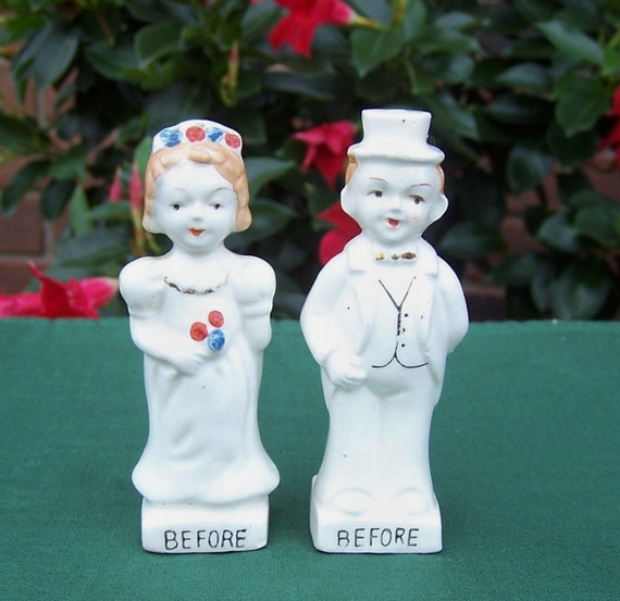 Bride and Groom, Before and After Salt and Pepper Shakers