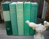 Vintage Books Sea of Green Beach Cottage Chic Decor 5 Big Book Stack