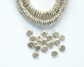Silver plated brass  faceted, flat spacer beads. silver plated brass faceted rondelle