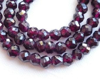 5-6mm Dark Burgundy Garnet faceted, rondelle beads, roundish garnet