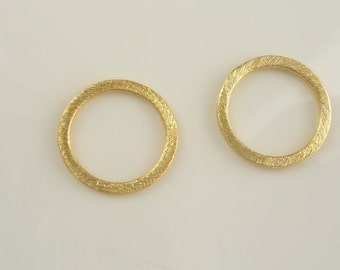 2 pcs  (15mm)  Gold Vermeil brushed round  spacer , link, gold circle, gold vermeil circle, karme circle