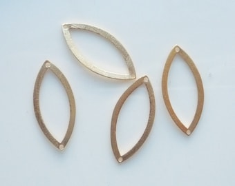 2 pcs  Gold Vermeil, brushed, marquise shape finding with 2  holes, link, connector (20x10mm), Gold plated over sterling silver