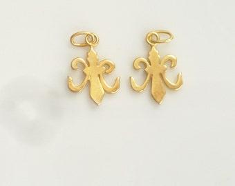 Gold Vermeil Fleur de Lis Charm, pendant (16x11mm), Gold plated sterling silver