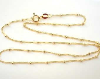 24 inches  Gold Vermeil beaded, finished curb  chain, satellite chain (Gold plated .925 sterling silver)