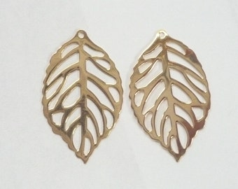 2 pcs Gold Vermeil Leaf  Findings , charm, connector (23x14mm), gold plated sterling silver