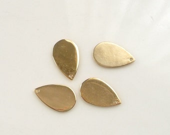 2 pcs  Gold Vermeil Teardrop  charm, finding  (13x9mm), gold plated sterling silver