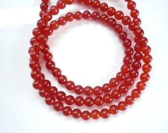 6mm Carnelian round beads, FULL STRAND